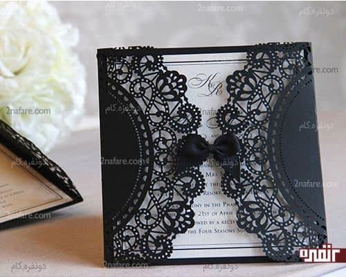 کارت عروسی سفید مشکی