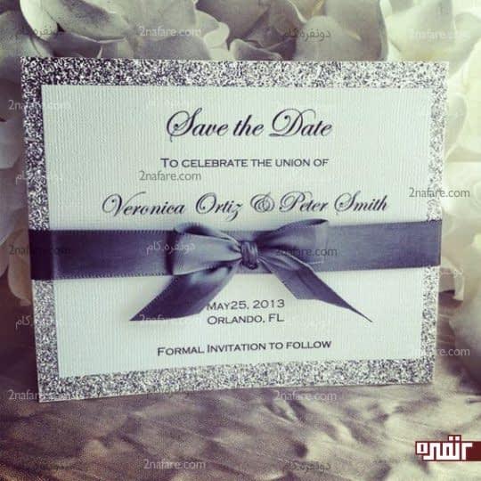 کارت عروسی نقره ای خاکستری