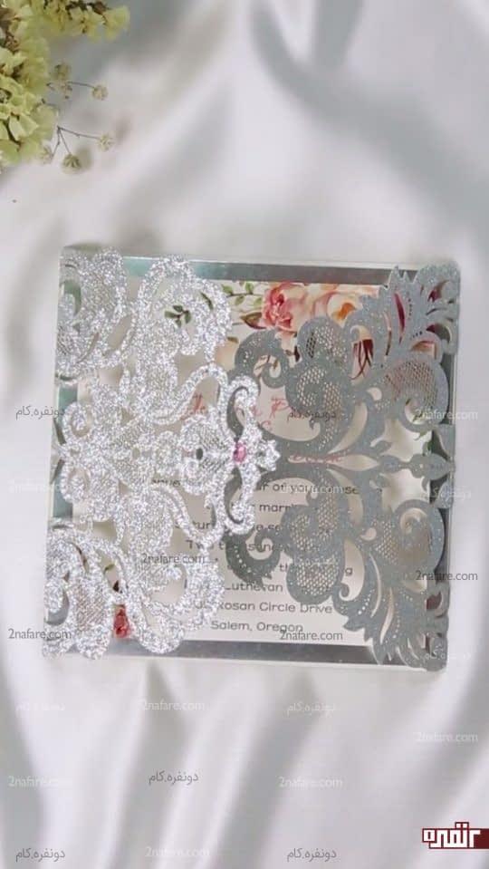 کارت عروسی نقره ای زیبا