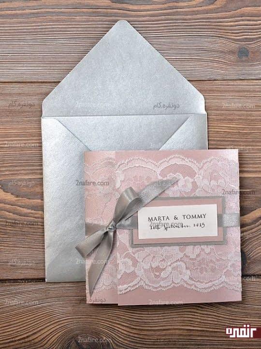 کارت عروسی نقره ای و صورتی
