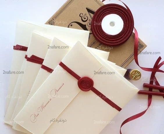 کارت های کلاسیک و جذاب عروسی با ترکیب سفید و قرمز