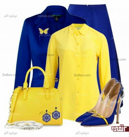 کت و دامن آبی و شومیز لیمویی
