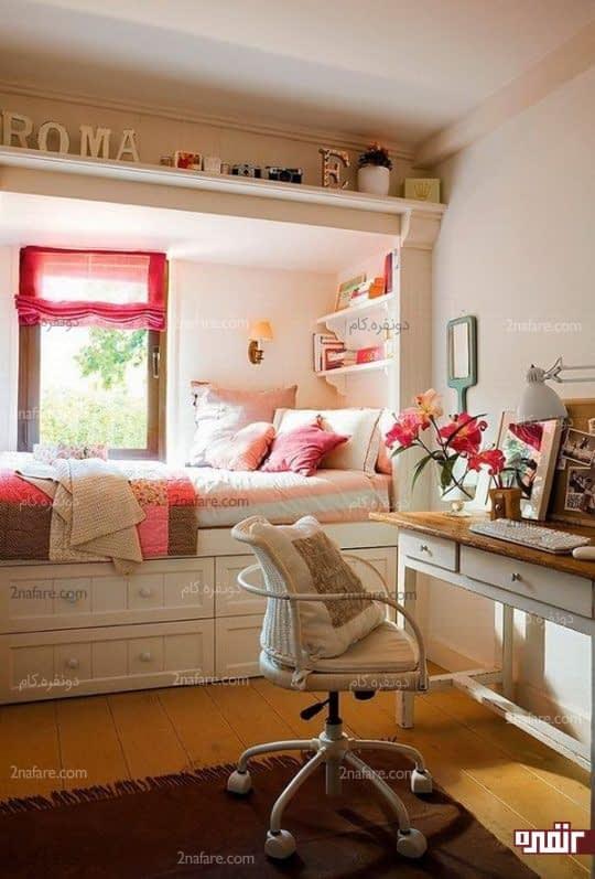 کشوی لوازم و تخت خواب کنار پنجره برای اتاقی دخترانه و زیبا