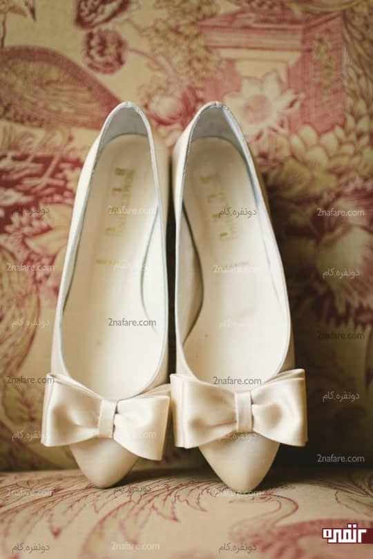 کفش عروس بدون پاشنه و تخت
