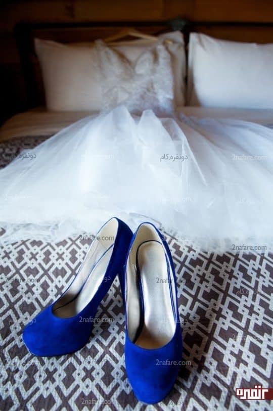 کفش عروس به رنگ زیبای آبی