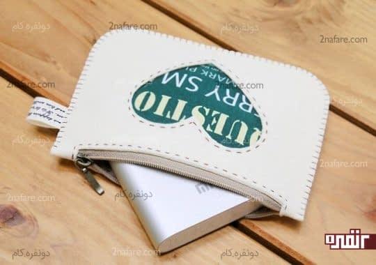 کیف زیپ دار زیبا با طرح قلب