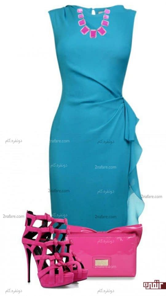 کیف و کفش صورتی و پیراهن آبی