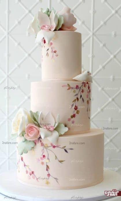 کیک جذاب عروسی با تزیین فوندانت