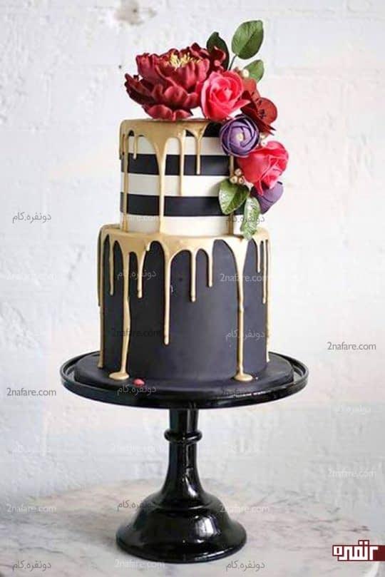 کیک جذاب و زیبای عروسی با تزیین فوندانت