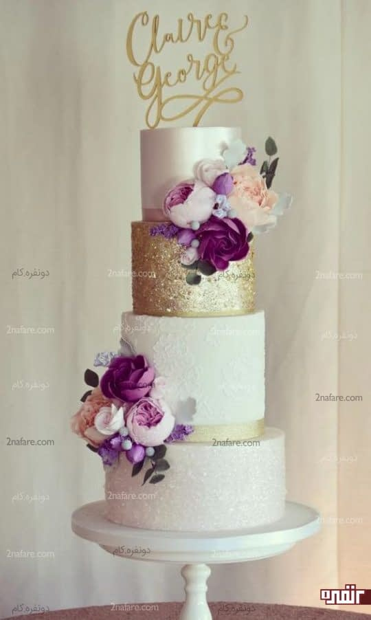کیک زیبای عروسی با روکش فوندانت