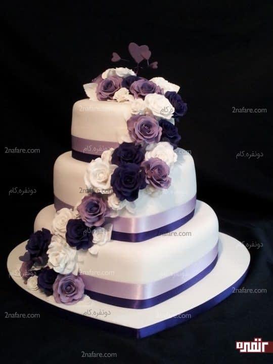 کیک عروسی با تزیین گل رز