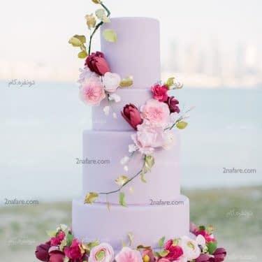کیک عروسی زیبا و جذاب با تزیین گل