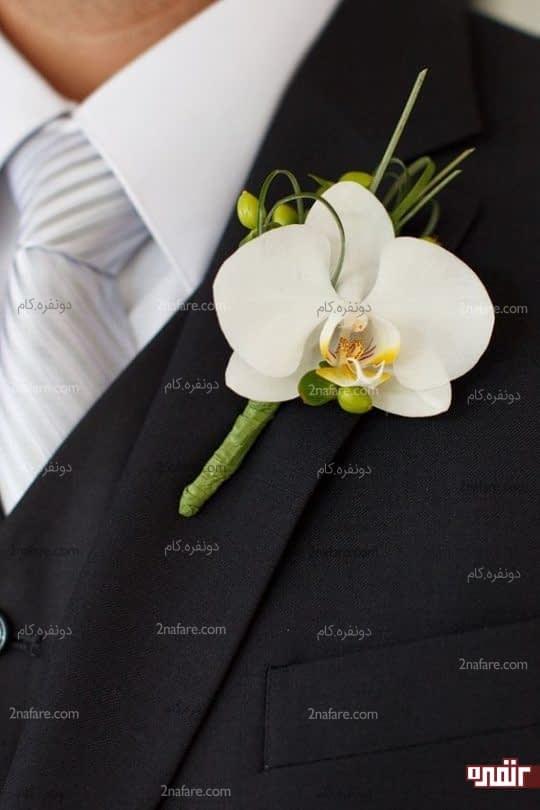 گل ارکیده برای یقه کت داماد