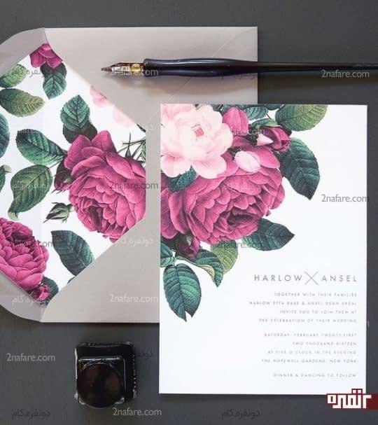 گل رز آبرنگی برای کارت عروسی