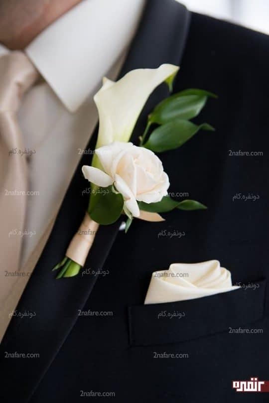 گل شیپوری و رز برای کت داماد