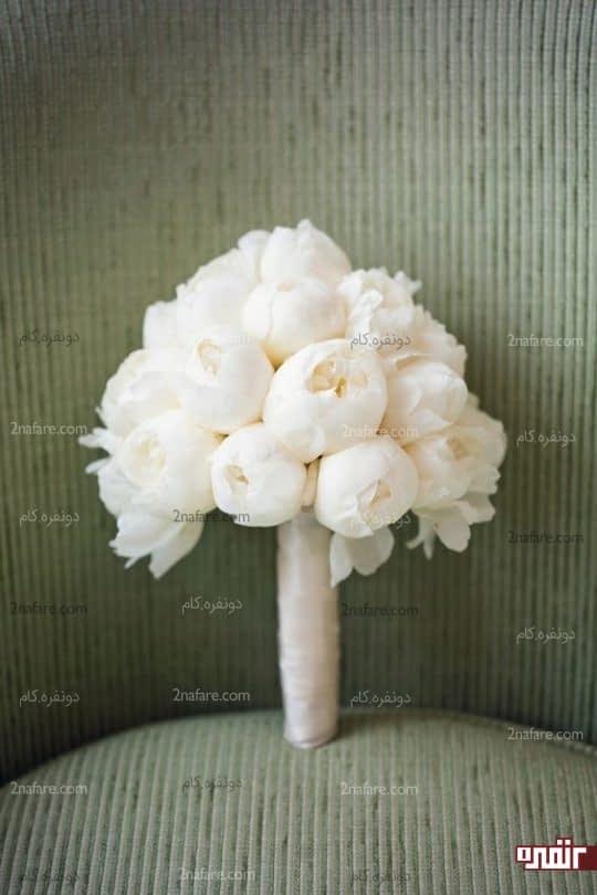 گل صدتومنی سفید و شیک برای دسته گل عروس