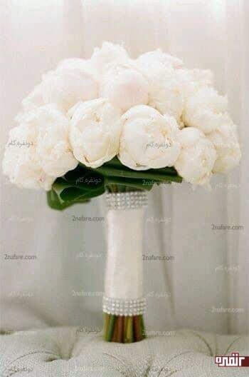 گل صدتومنی سفید و کلاسیک دسته گل عروس