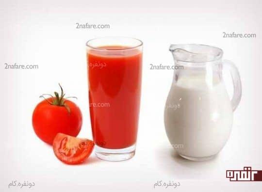 آبدوغ و آب گوجه فرنگی برای از بین بردن لکه های تیره روی بینی