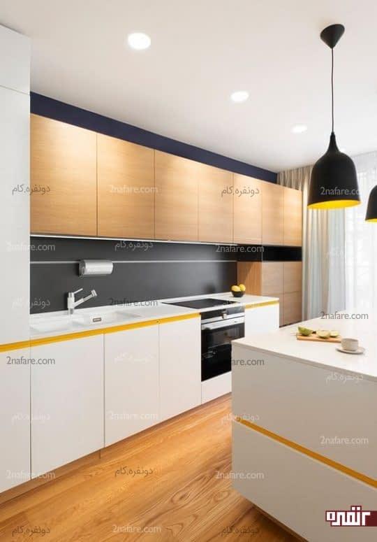 آشپزخانه دو رنگ و مدرن