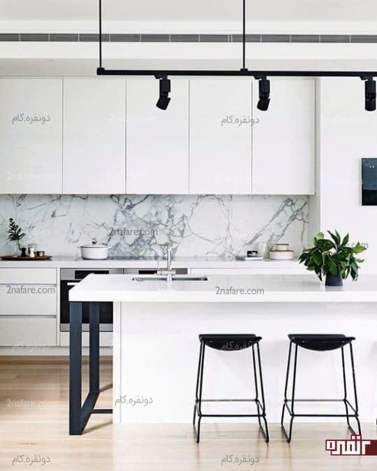 آشپزخانه سفید و درخشان