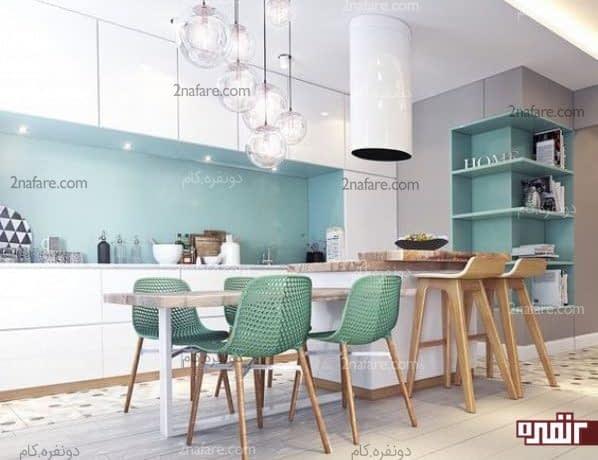 آشپزخانه شیک با ترکیب رنگهای آبی و سبز ملایم