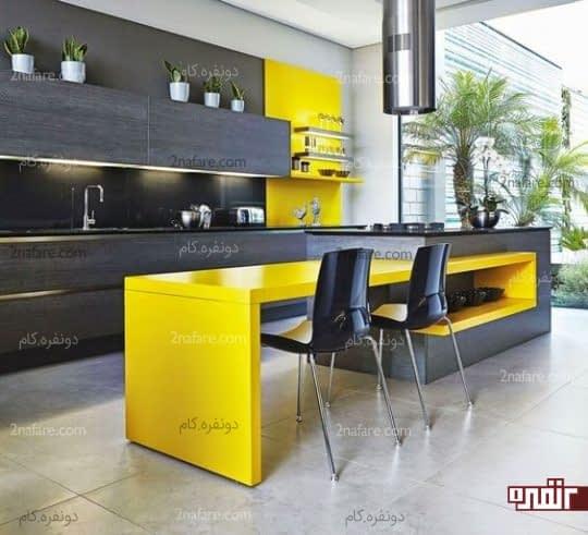 آشپزخانه مدرن با ترکیب جذاب رنگ زرد و خاکستری