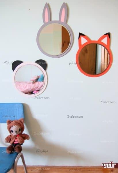 آینه حیوانات برای تزیین دیوار اتاق بچه ها