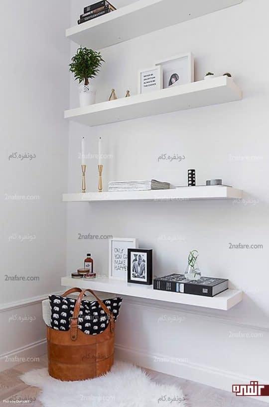 استفاده از قفسه یا شلف دیواری برای کنج خانه