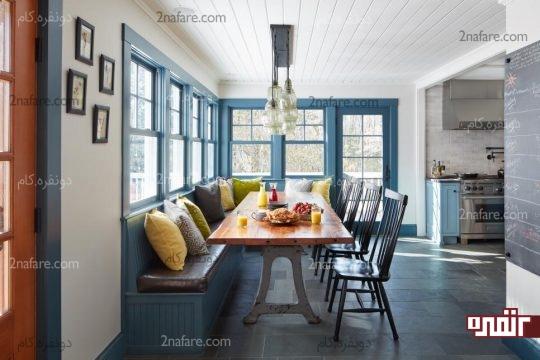 استفاده بهینه از کنج خانه با قراردادن میز و نیمکت های غذاخوری