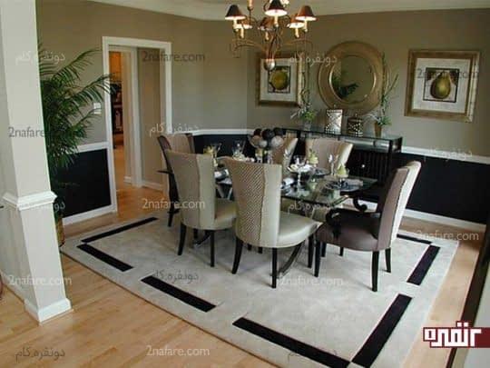 انتخاب طرح زیبا و خاص فرش برای اتاق غذاخوری