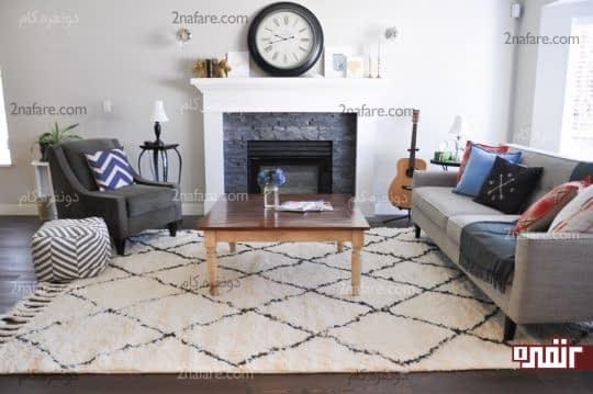 انتخاب فرشی متناسب با دکور و رنگ لوازم در اتاق نشیمن