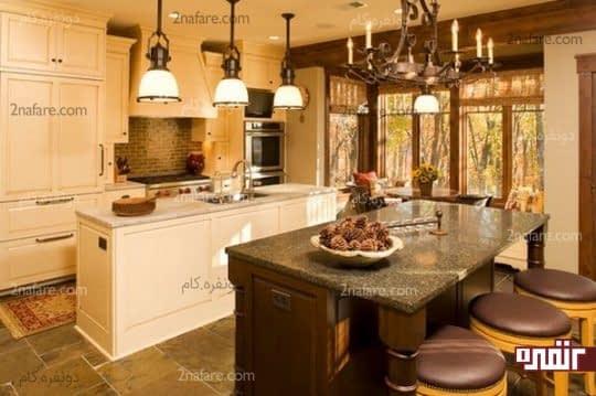 انتخاب لوسترهای خاص و زیبا برای میزکار و جزیره در آَشپزخانه