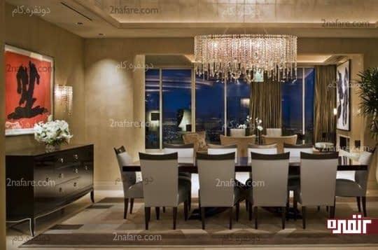 انتخای لوستر و چراغ دیواری هماهنگ باهم برای زیباتر شدن فضای غذاخوری
