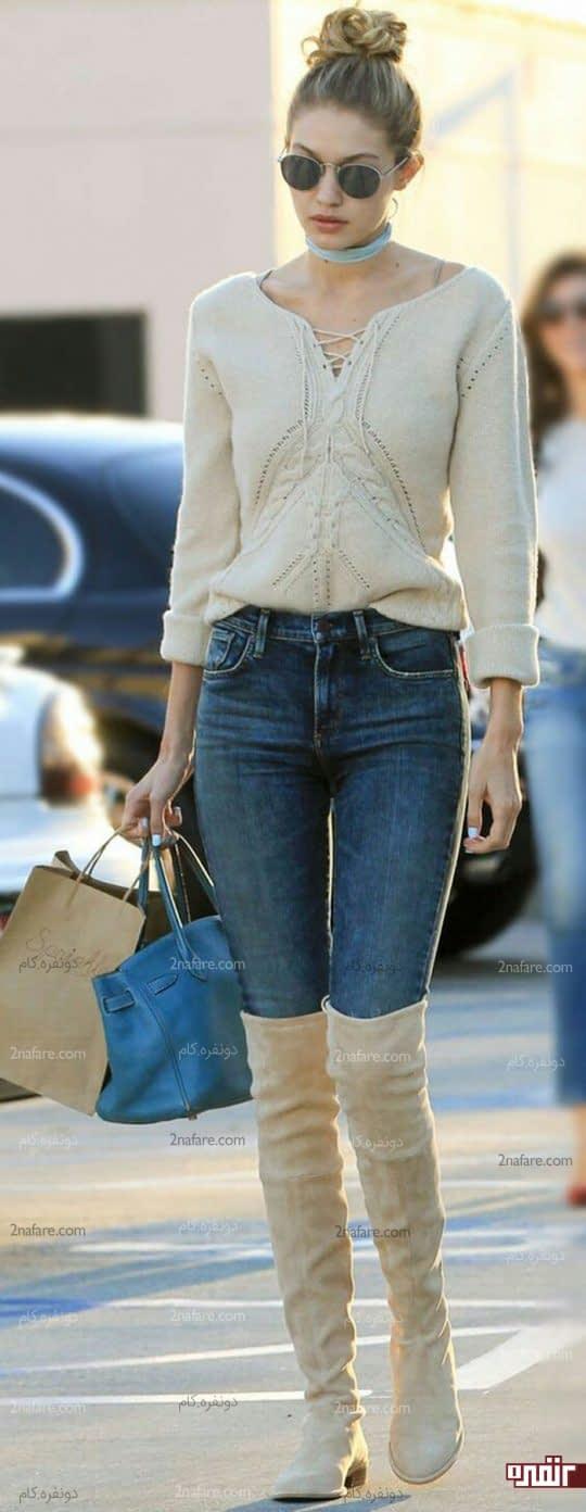 بوت بلند با شلوار جین تنگ