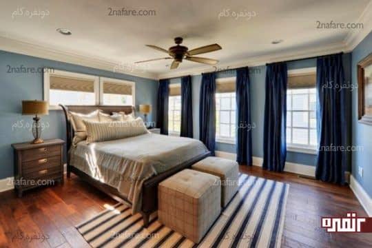 ترکیب تناژهای مختلف رنگ آبی در اتاقی زیبا