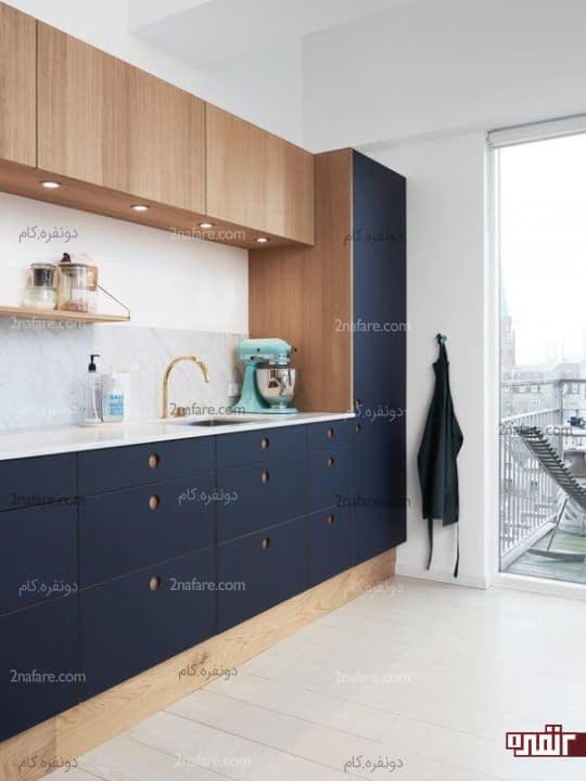 ترکیب دو رنگ آشپزخانه مدرن با لاجوردی و چوب و سنگ مرمرترکیب دو رنگ آشپزخانه مدرن با لاجوردی و چوب و سنگ مرمر