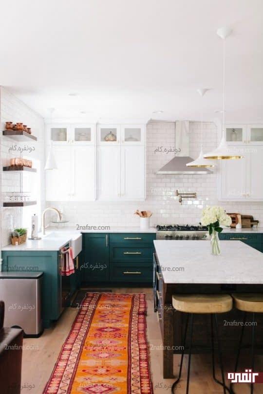 ترکیب رنگ جذاب برای آشپزخانه دورنگ