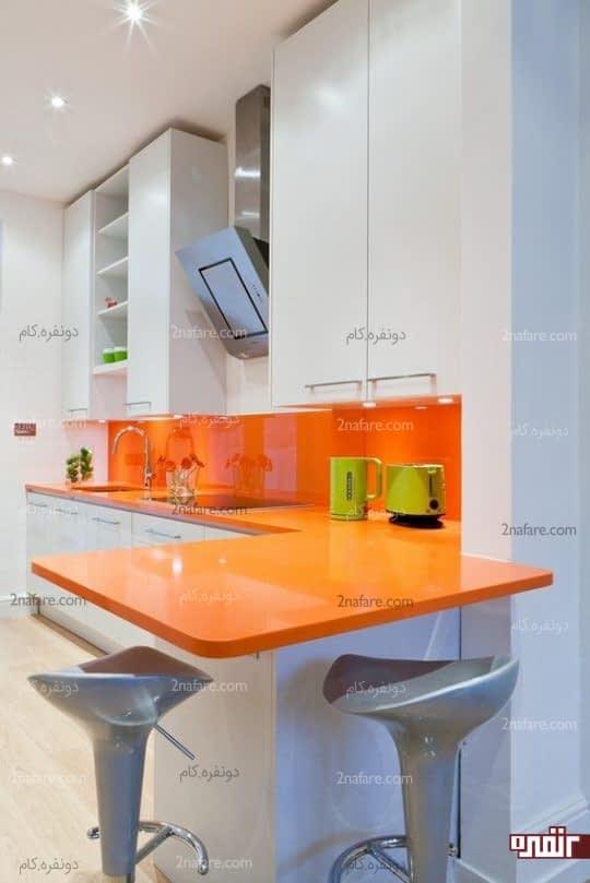 ترکیب رنگ خاص و جذاب آشپزخانه با نارنجی و سفید