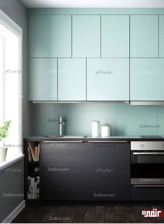 ترکیب رنگ چوب با آبی پاستیلی برای آشپزخانه دورنگ مدرن