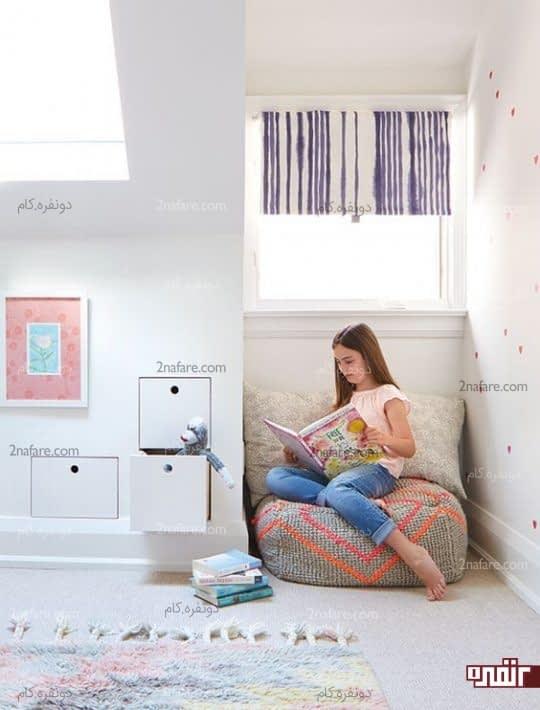 تزیین کنج اتاق خواب دخترانه برای مطالعه