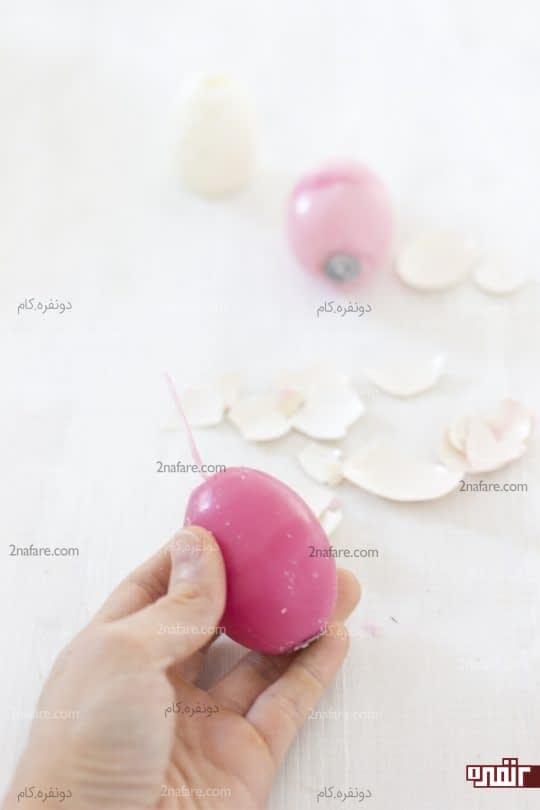 جداکردن پوسته از شمع تخم مرغی