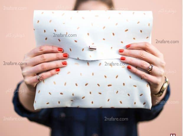 دوخت کیف دستی چرم سفید طلایی