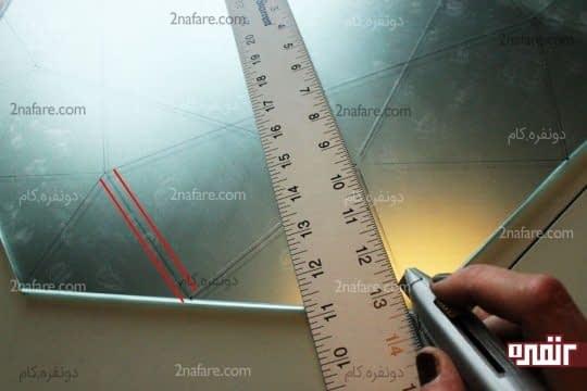 رسم خط در هر طرف از خطوط اولیه با فاصله ی نیم سانتی متر