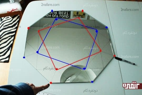 رسم مربع در وسط آینه ی هشت ضلعی