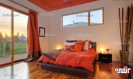 رو تختی و پرده های نارنجی برای اتاق خواب