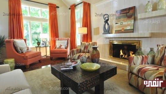 سایه های مختلف رنگ نارنجی در اتاق نشیمن