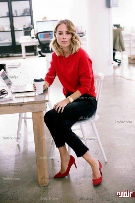 ست بلوز و کفش قرمز