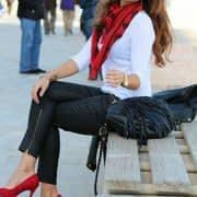 ست شال و کفش پاشنه دار قرمز