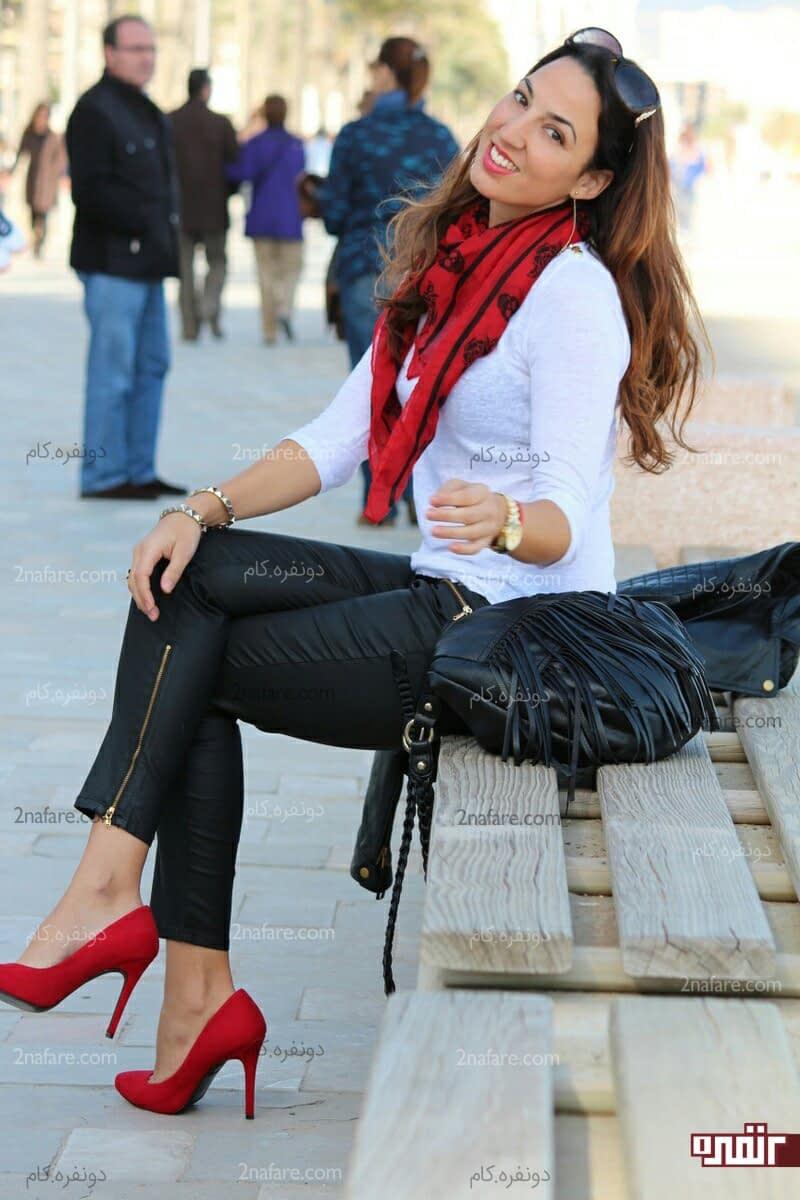 بهترین ست های لباس با کفش پاشنه بلند قرمز