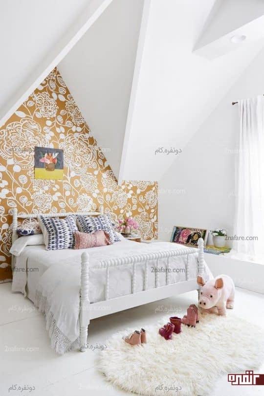 سفید و طلایی ترکیبی جذاب برای کاغذ دیواری اتاق خواب